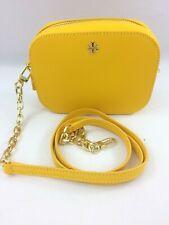New Authentic Tory Burch 52898 Emerson Round Cross-Body Handbag Yellow Leather