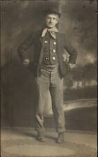 Man Dressed as Hobo Tramp Costume c1910 Real Photo Postcard dcn