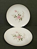 Contour Picardy Bread Plates China White Pink Roses Gold Trim--Lot of 2!!