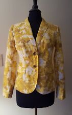 NEW w/TAGS TALBOTS 4 Yellow Brown White Floral Blazer Lined in White Cotton