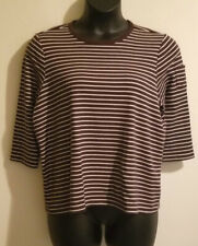 LAUREN Ralph Lauren Womens Cotton Knit Pullover Size 2X Brown Stripe  ¾-Sleeve