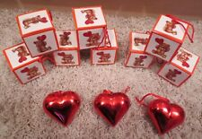 Vintage But New Valentine'S Day Love Heart Teddy Bear Heavy Paper Box Ornaments