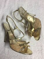 Casadei Italy Women's Gold Leather Lace Ankle Strap Heels Shoes Size Sz 6 B