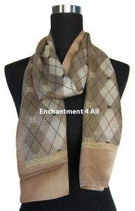 Double Layer 100% Silk Satin Neck Scarf Wrap, Beige