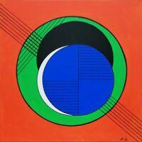 Tableau abstrait géométrique contemporain 50 x 50 cm. Original signé A.G.