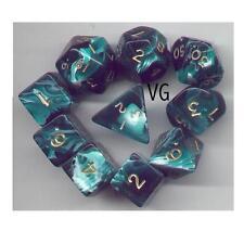 NEW RPG Dice 10pc - Marble Green - 1 @ D4 D8 D10 D12 D20 D00-10 & 4 D6