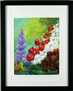 Still Life Flowers and Sunflower Hand Embellished Signed Robert COA - Framed