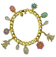 Kirks Folly Elegant Easter Bunny Charm Bracelet goldtone