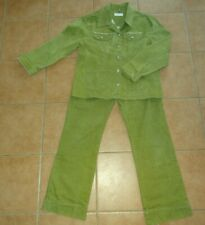 Damen Hosenanzug Sarah Amari M 40 42 Blazer Jacke Jeans Hose L30 grün Strasstein