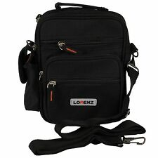 Lorenz Small Black Polyester Organiser Gadget Bag - shoulder strap and Belt loop