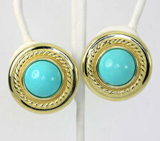 """Vintage turquoise earrings 18K yellow gold rope detail buttons 24.30CT 17.9GM 1"""""""