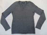 Sutton Cashmere Gray V-neck Sweater Top Women's Size Large Gray 100% Cashmere