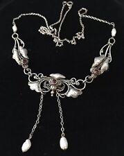 Fabulous Vintage Art Nouveau Real Pearl & Garnet Crystal Pendant Drop Necklace