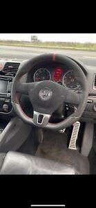 Steering wheel vw golf mk5 mk6 GTI mk5 caddy flat bottom alcantara red Stiching