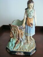 ANTIQUE MATCH AND CIGAR HOLDER  MAJOLICA CONTINENTAL EUROPE c 1890
