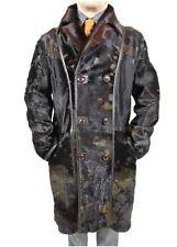 Men Lambskin Pony Skin Cowhide Hair Leather Trench Coat Jacket Reversible size L