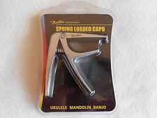 Boston Spring Loaded Ukulele Banjo or Mandolin Capo Silver Aluminium