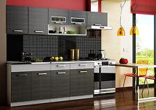Komplett Küche 240cm MORENO SCHWARZ - GRAU mit Herdeinbauschrank