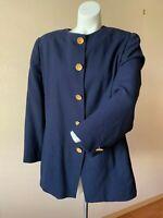 Christian Dior Womens 100% Wool Blazer Jacket 16 Vtg Blue w/Gold Buttons
