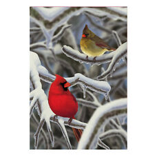 "MORNING SNOW Cardinals Cold Winter Day 12.5"" x 18"" Small Decorative Banner Flag"