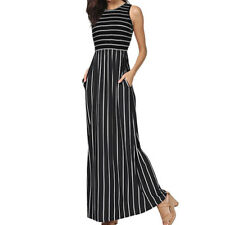 Womens Casual Sleeveless Elastic Waist Striped Maxi Long Dress With Pockets 2018 Black L