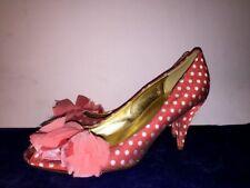 J CREW Peep Toe POLKA DOT High Heels Taffeta Flower Pink Salmon Women Shoes Sz 8