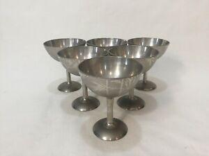 "Set of 6 Vintage Jin Pewter Metal Bamboo Design Goblets, Marked Jin, 4 1/4"" Tall"