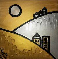 Margarita Bonke Leinwand 40cm Canvas PAINTING abstract abstrakt landscape gold
