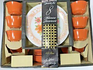 NOS! Vintage Set Melamine Dinnerware Service for 8-Floral 1960's-Missing 2 cups!