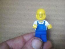 Lego Mini Figure Workman Blue and White Tortoise Shell with Helmet
