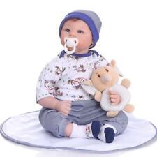 22inch Reborn Toddler Dolls Soft Silicone Head with Cloth Body Real Baby Boy