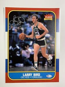 Larry Bird autographed 11x14 photo 1986 Fleer photo blow up Beckett Witnessed