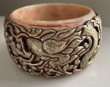 Vintage Huge Nepalese Tibetan Silver Dragon Serpent Bangle Cuff Bracelet