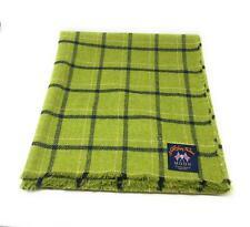 Pure Wool Tweed Blanket/Bedspread/Throw Lime Green Check
