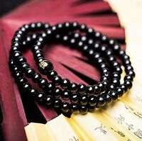 Beaded Elasticated Black Budha Bracelet Bangle Beads Meditation Gift Men Women