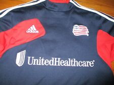 Blue NEW ENGLAND REVOLUTION Long Sleeve Warm Up Top Med Adidas Clima Cool MLS