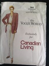Pattern Vogue 964 for Canadian Living misses' jacket, pants and blouse