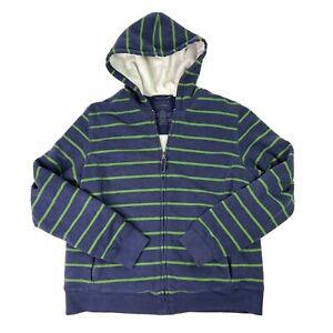 LL Bean Womens Sherpa Lined Full Zip Hoodie Sweatshirt Blue Green Striped Size M