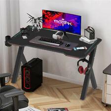 Gaming Desk Carbon Fiber Desktop Adjustable Rbg Led Light Computer Laptop Table