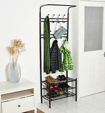 Black Metal Multi-Function Clothes Coat Stand Shoes Rack Umbrella Stand UK Ship