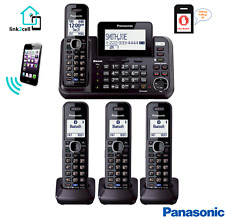 Panasonic 2 Line Cordless Phone Answering System 4 Handset Link2Cell Home Office