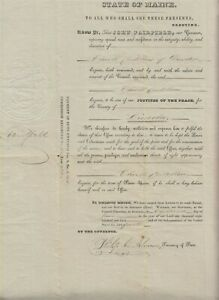 Maine: 1840 Justice of the Peace Appointment Governor, John Fairfield Signed
