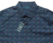 Men's PERRY ELLIS Total Eclipse Blue Gray Paisley Shirt 3XLT 3LT TALL NWT NEW