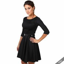 Womens Flared Franki Belted 3 4 Sleeve Top Party Pleated Retro Skirt Party Dress Black 20