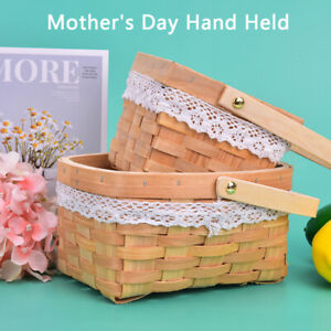 1Pc Woven Flower Basket Hand-Held Basket Wedding Party Decor Basket GiftB.ec