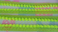 Lime Neon Green Mini Pom Pom Dangle Fringe Trim Infant Embroidered Woven Braid