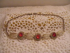 """VINTAGE GOLDTONE RED STONE RHINESTONE 15"""" ROPE NECKLACE~EXCELLENT CONDITION!"""