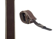 Classic comfy Guitar Strap BROWN with single side beige stripe 3083 clip ends