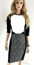 MARCCAIN Damen Kleid Viskosemischung N2 36 S Stretchkleid schwarz weiß