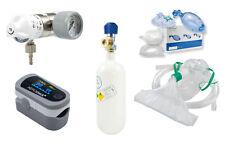 SET Druckminderer+Sauerstoffflasche 0,8 l+Beatmungsbeutel+Pulsoximeter (Praxis)